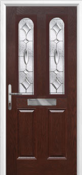 2 Panel 2 Arch Zinc/Brass Art Clarity Composite Front Door in Darkwood