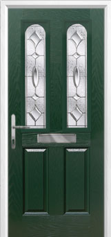 2 Panel 2 Arch Zinc/Brass Art Clarity Composite Front Door in Green