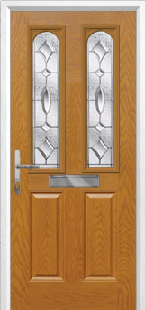 2 Panel 2 Arch Zinc/Brass Art Clarity Composite Front Door in Oak