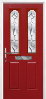 2 Panel 2 Arch Zinc/Brass Art Clarity Composite Front Door in Red
