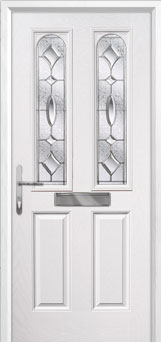 2 Panel 2 Arch Zinc/Brass Art Clarity Composite Front Door in White