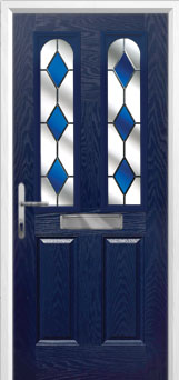 2 Panel 2 Arch Drop Diamond Composite Front Door in Blue