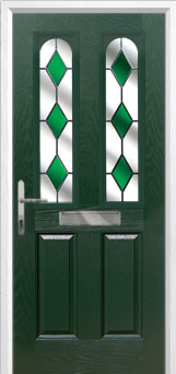 2 Panel 2 Arch Drop Diamond Composite Front Door in Green