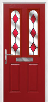 2 Panel 2 Arch Drop Diamond Composite Front Door in Red