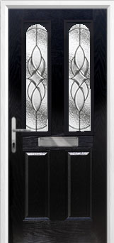 2 Panel 2 Arch Elegance Composite Front Door in Black