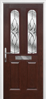 2 Panel 2 Arch Elegance Composite Front Door in Darkwood