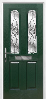 2 Panel 2 Arch Elegance Composite Front Door in Green