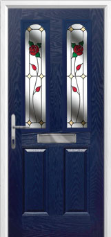 2 Panel 2 Arch English Rose Composite Front Door in Blue