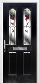 2 Panel 2 Arch English Rose Composite Front Door in Black