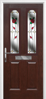 2 Panel 2 Arch English Rose Composite Front Door in Darkwood