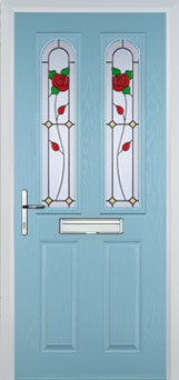 2 Panel 2 Arch English Rose Composite Front Door in Duck Egg Blue