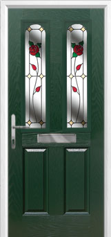 2 Panel 2 Arch English Rose Composite Front Door in Green