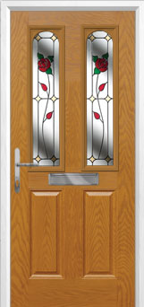 2 Panel 2 Arch English Rose Composite Front Door in Oak