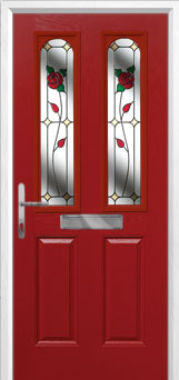 2 Panel 2 Arch English Rose Composite Front Door in Red