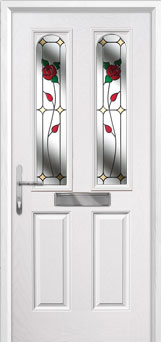 2 Panel 2 Arch English Rose Composite Front Door in White