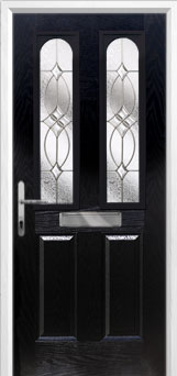 2 Panel 2 Arch Flair Composite Front Door in Black