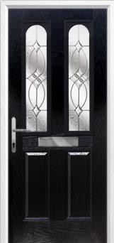 2 Panel 2 Arch Flair Composite Front Door in Black