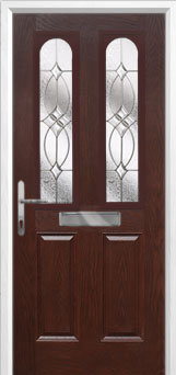 2 Panel 2 Arch Flair Composite Front Door in Darkwood