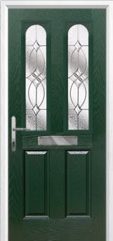 2 Panel 2 Arch Flair Composite Front Door in Green
