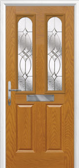 2 Panel 2 Arch Flair Composite Front Door in Oak