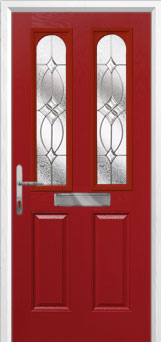 2 Panel 2 Arch Flair Composite Front Door in Red