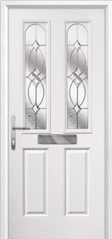 2 Panel 2 Arch Flair Composite Front Door in White