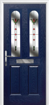 2 Panel 2 Arch Fleur Composite Front Door in Blue