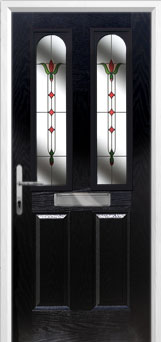 2 Panel 2 Arch Fleur Composite Front Door in Black