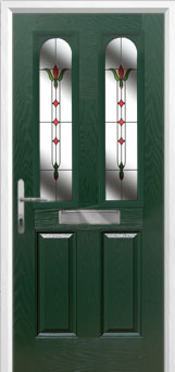2 Panel 2 Arch Fleur Composite Front Door in Green