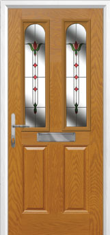 2 Panel 2 Arch Fleur Composite Front Door in Oak