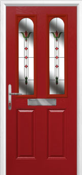 2 Panel 2 Arch Fleur Composite Front Door in Red