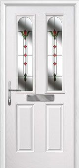 2 Panel 2 Arch Fleur Composite Front Door in White