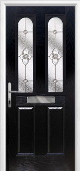 2 Panel 2 Arch Finesse Composite Front Door in Black