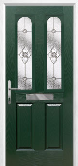 2 Panel 2 Arch Finesse Composite Front Door in Green