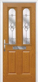 2 Panel 2 Arch Finesse Composite Front Door in Oak