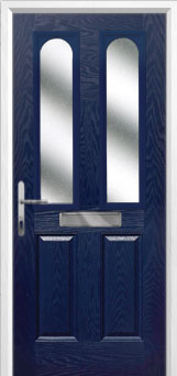 2 Panel 2 Arch Glazed Composite Front Door in Blue