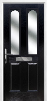 2 Panel 2 Arch Glazed Composite Front Door in Black