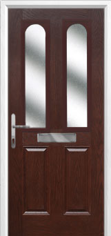 2 Panel 2 Arch Glazed Composite Front Door in Darkwood