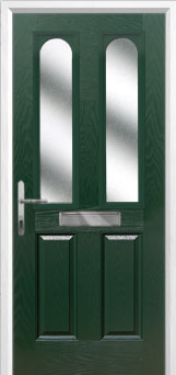 2 Panel 2 Arch Glazed Composite Front Door in Green