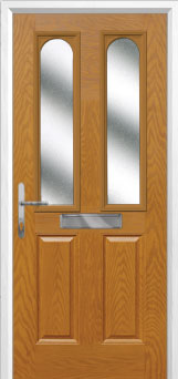 2 Panel 2 Arch Glazed Composite Front Door in Oak