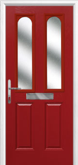 2 Panel 2 Arch Glazed Composite Front Door in Red
