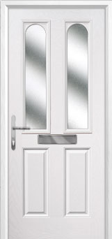 2 Panel 2 Arch Glazed Composite Front Door in White