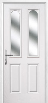 2 Panel 2 Arch Glazed Composite Back Door in White