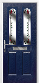 2 Panel 2 Arch Mackintosh Rose Composite Front Door in Blue