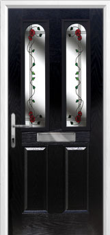 2 Panel 2 Arch Mackintosh Rose Composite Front Door in Black