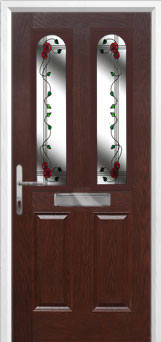 2 Panel 2 Arch Mackintosh Rose Composite Front Door in Darkwood