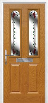 2 Panel 2 Arch Mackintosh Rose Composite Front Door in Oak