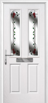 2 Panel 2 Arch Mackintosh Rose Composite Front Door in White