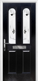2 Panel 2 Arch Murano Composite Front Door in Black
