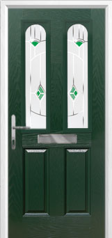 2 Panel 2 Arch Murano Composite Front Door in Green